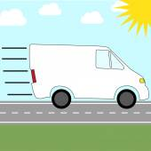 Colorful icon for sending by courier service - fast riding van — Stockvektor