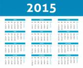 2015 calendar in blue halftone style (Monday to Sunday) in Spani — Stock Vector