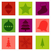 Set of 9 isolated Christmas typical icons — Stock Vector