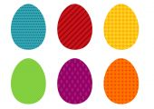 Set of 6 colorful simple Easter eggs — Stock Vector