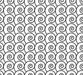 Seamless pattern with black swirls (waves — Stock Vector