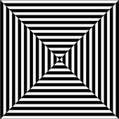 Op art illustration of black and white squares — Stock Vector