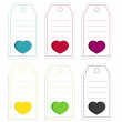 Collection of 6 isolated price tags with big hearts — Stock Vector #64012825