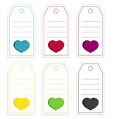 Collection of 6 isolated price tags with big hearts — 图库矢量图片