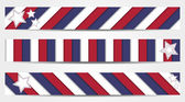 Collection of 3 striped banners in official colors of USA  — Stock Vector