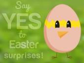 鶏の孵化した卵と本文から探していると面白いイースター カード — ストックベクタ