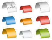 Collection de 9 étiquettes 3d colorés isolés — Vecteur