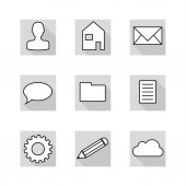 Collection of 9 flat icons in neutral colors of greyscale — Stockvektor