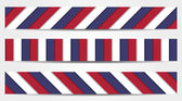 Collection of 3 striped banners in blue, white and red — Cтоковый вектор