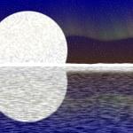 Illustration of big moon, aurora on nigh sky and snowy horizon — Stock Photo #66143797