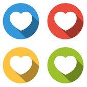 Colección de 4 botones planos coloridos aislados de corazón (como) — Vector de stock
