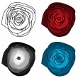 Set of 4 isolated abstract roses — Stock Vector #66861053