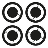 Collection of 4 isolated buttons with rounded arrows — Stock Vector