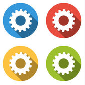 Collection of 4 isolated flat colorful buttons for gear with long shadow — Stock Vector