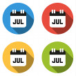 Collection of 4 isolated flat colorful buttons for July (calenda — Stock Vector #67536287