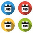 Collection of 4 isolated flat colorful buttons for August (calen — Stock Vector #67536295
