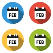 Collection of 4 isolated flat colorful buttons for February (cal — Stock Vector