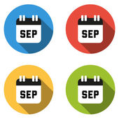 Collection of 4 isolated flat colorful buttons for September (ca — Stock Vector