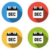 Collection of 4 isolated flat colorful buttons for December (cal — Stock Vector