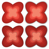 Collection of 4 flower like shapes in shades of red — Stock Vector