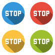 Collection of 4 isolated flat colorful buttons for STOP — Stock Vector #68111109
