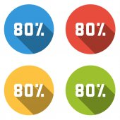 Collection of 4 isolated flat buttons (icons) for 80 percent (discount) — Stock Vector