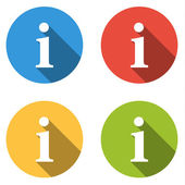 Collection of 4 isolated flat buttons (icons) for i - info (faq, — Vettoriale Stock