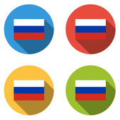 Collection of 4 isolated flat buttons (icons) with RUSSIAN FLAG — Stock Vector