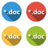 Collection of 4 isolated flat colorful buttons (icons) for doc e — Stock Vector