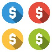 Collection of 4 isolated flat buttons (icons) with dollar sign — Stock Vector