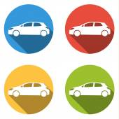 Collection of 4 icons for hatchback car - cargo, transport — Stock Vector