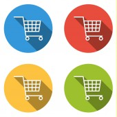 Collection of 4 isolated flat buttons (icons) for shopping cart — Stockvektor