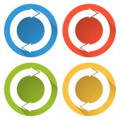 Collection of 4 isolated flat buttons (icons) for refresh — Stock Vector