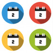 Collection of 4 isolated flat buttons (icons) for number 2 — Stock Vector #70439297
