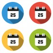 Collection of 4 isolated flat buttons (icons) for number 25 — Stock Vector #70439611