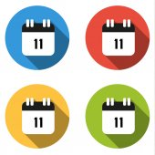 Collection of 4 isolated flat buttons (icons) for number 11 — Stock Vector