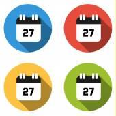Coleção de 4 botões simples isolados (ícones) para número 27 — Vetor de Stock