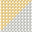 Star rating system with stars with long shadow in circles — Stock Vector #72421419