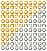 Star rating system with stars with long shadow in circles — Stock Vector