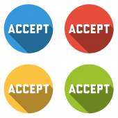 Collection of 4 isolated flat buttons with ACCEPT sign — Stock Vector