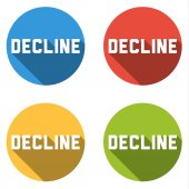 Collection of 4 isolated flat buttons with DECLINE sign — Stock Vector