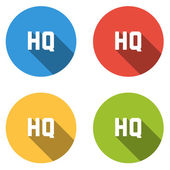 Collection of 4 isolated flat colorful buttons for HQ (HIGH QUAL — Stock Vector