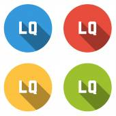 Collection of 4 isolated flat colorful buttons for LG (LOW QUALI — Stock Vector