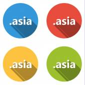 Collection of 4 isolated flat buttons (icons) for .asia domain — Stockvector