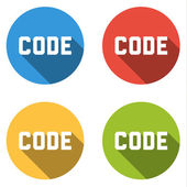 Collection of 4 isolated flat buttons with CODE text — Stock Vector
