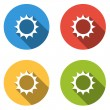 Collection of 4 isolated flat buttons for sun - sunny, sunshine, — Stock Vector #74016975