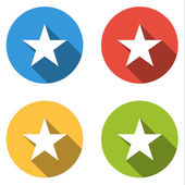 Collection of 4 isolated flat buttons for star (favorite, succes — Stock Vector