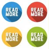 Samling av 4 isolerad platta knappar för Läs mer — Stockvektor