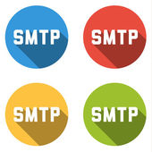 Collection of 4 isolated flat buttons for SMTP (Simple Mail Tran — Stock Vector