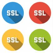Collection of 4 isolated flat buttons (icons) for SSL (Secure So — Stock Vector